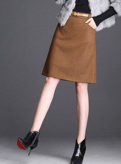 High Waist Pure Color A Line Skirt With Belt