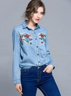 Fashion Blue Embroidered Denim Blouse