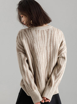 Autumn Apricot Trendy Loose O-neck Knitting Sweater