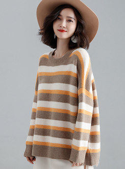 Chic Crew-neck Color-blocked Long Sleeve Sweater