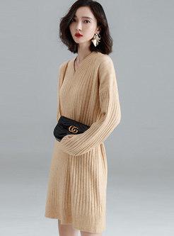 Stylish Camel V-neck Long Sleeve Tie-waist Knitting Sweater