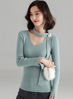 Autumn V-neck Pullover Long Sleeve Slim Sweater