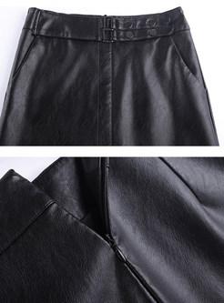 Black Casual PU Slit Midi Bodycon Skirt