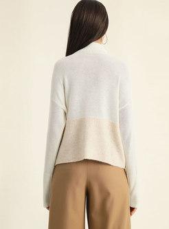 Stylish Stitching Turtle Neck Knitted Sweater