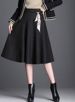 Fashion Solid Color Woolen Skirt With Decoration