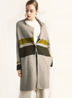 Hit Color Turn-down Collar Sweater Coat