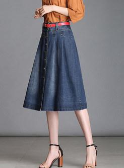 Chic Single-breasted Denim A Line Midi Skirt