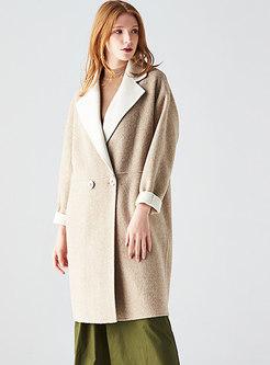 Trendy Light Khaki Cashmere Double-sided Hairy Coat