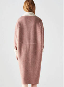 Fashion Solid Color Long Sleeve Cocoon Coat