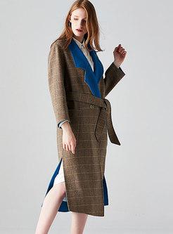 British Hit Color Plaid Side-Split Coat With Belt