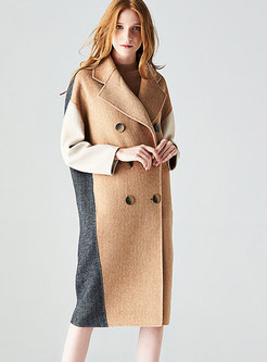Color-blocked Double-sided Cashmere Peacoat
