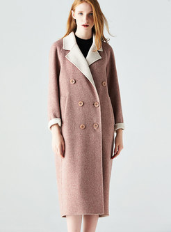 Elegant Notched Lapel Hairy Coat With Double-breasted