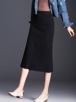 Knitted High Waist Easy-matching Midi Skirt