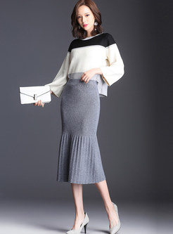 Brief Elastic Waist Mid-claf Bodycon Skirt