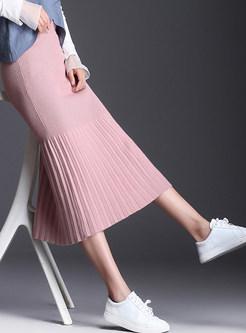 Pink Sweet Elastic High Waist Knitted Skirt
