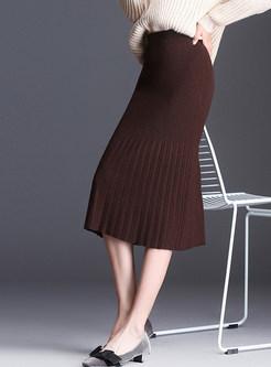 Casual Easy-matching Sheath Knitted Falbala Skirt
