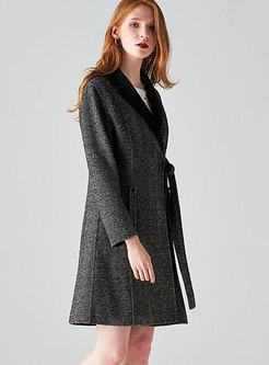 Trendy Notched Gathered Waist Pinstriped Coat