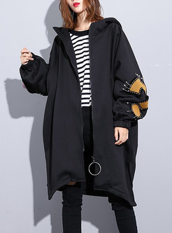 Hooded Cartoon Print Casual Zippered Plus Size Coat