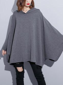 Solid Color Plus Size Bat Sleeve Hooded Sweatshirt