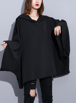 Fashion Loose Hooded Bat Sleeve Pullover Sweatshirt