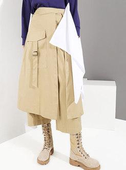 Trendy Khaki High Waist All-matched Wide-leg Pants