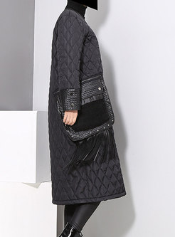Brief Black Pockets Cotton Coat With Tied Tassel