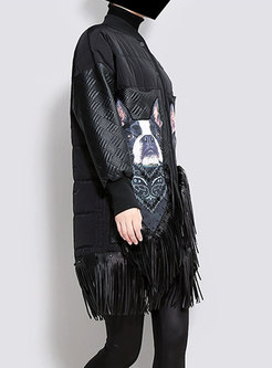 Black Stand Collar Fringed Detail Loose Coat