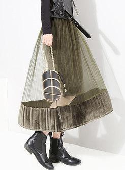 Autumn Velvet High Waist Gauze Paneled A Line Skirt
