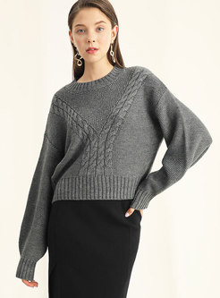 Casual Pure Color O-neck Long Sleeve Sweater