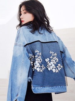 Lapel Single-breasted Irregular Embroidered Denim Coat