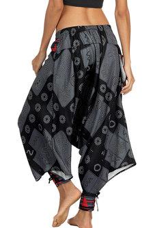 Vintage Ethnic Digital Print Wide-leg Yoga Pants