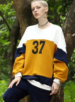 Chic Color-blocked Loose Splicing Cotton Sweatshirt