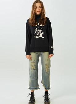 Casual Half High Neck Cartoon Print Sweatshirt