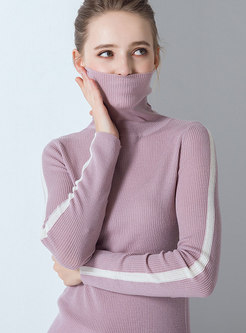 Autumn Turtle Neck Long Sleeve Wool Slim Knitted Sweater