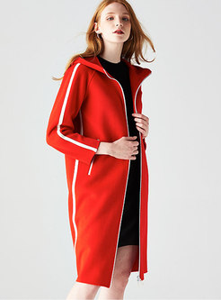Casual Hooded Hit Color Zipper Knee-length Coat