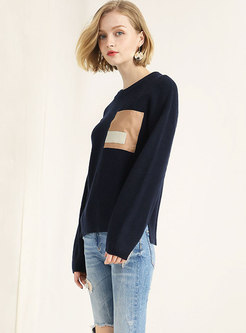 Color-blocked Patchwork Wool-blend Loose Sweater
