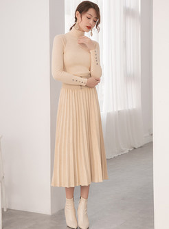 Fashion Solid Color Splicing Midi Skirt