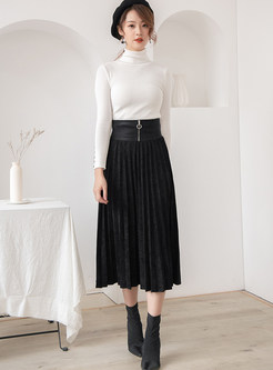 Brief Pure Color High Waist Pleated Skirt