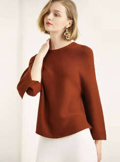 Casual Flare Sleeve Split Knitting Sweater