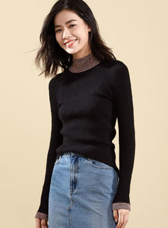 Multicolor Half High Neck Bottoming Sweater