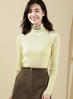 Chic Yellow Letter Turtle Neck Slim Pullover Sweater