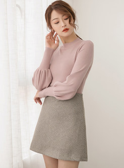 Sweet Half Turtle Neck Lantern Sleeve Slim Sweater