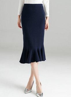 Winter Blue Wrap Knitted Midi Skirt