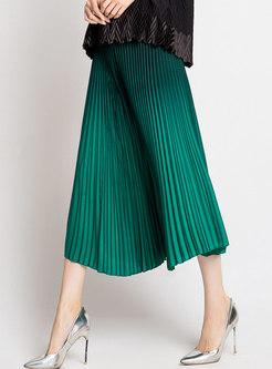 Stylish Pleat High Waist Wide-leg Pants