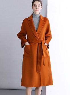 Trendy Notched Long Sleeve Tie-waist Overcoat
