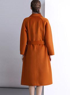 Trendy Notched Long Sleeve Tie-waist Overcoat