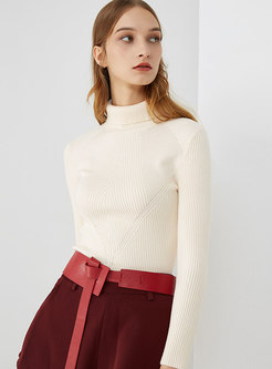 Winter Solid Color Turtle Neck Long Knitting Sweater