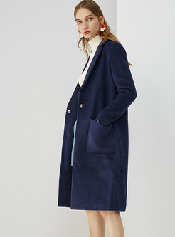 Turn-down Collar Pockets Wool Blended Coat