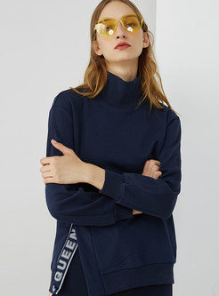 Casual Navy High Neck Sports Letter Split Hoodies
