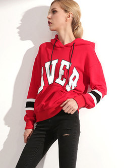 Casual Sports Letter Print Hooded Drawstring Hoodies